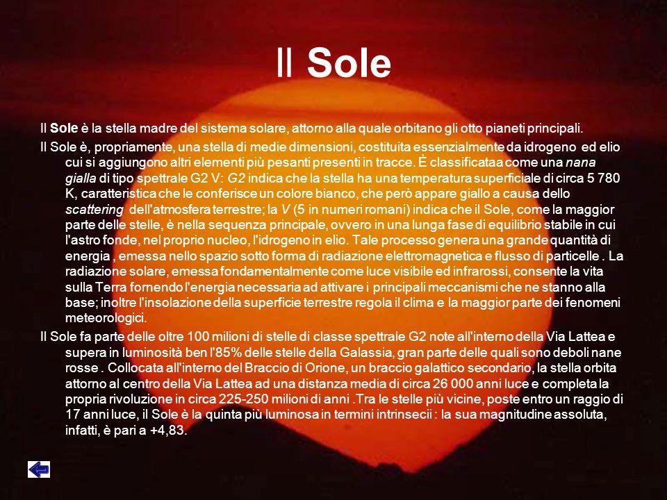 Il Sole Il Sole è la stella madre del sistema solare, attorno alla quale orbitano gli otto pianeti principali.