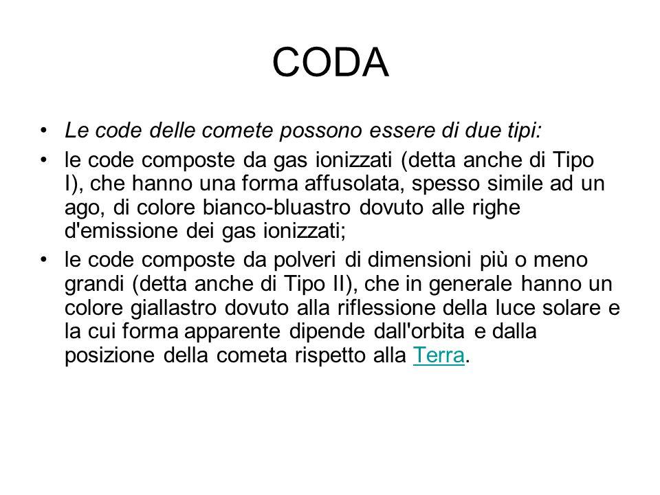 CODA Le code delle comete possono essere di due tipi: