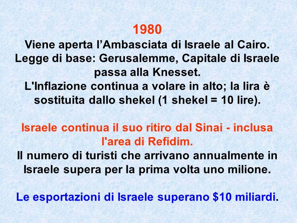 1980 Viene aperta l'Ambasciata di Israele al Cairo.
