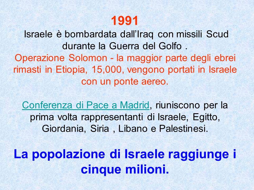 La popolazione di Israele raggiunge i cinque milioni.
