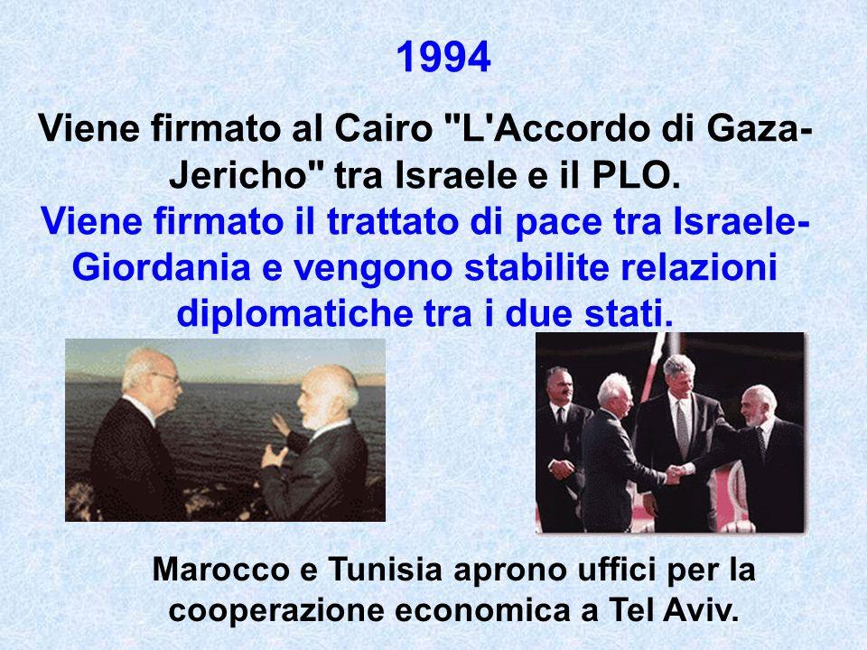1994 Viene firmato al Cairo L Accordo di Gaza-Jericho tra Israele e il PLO.