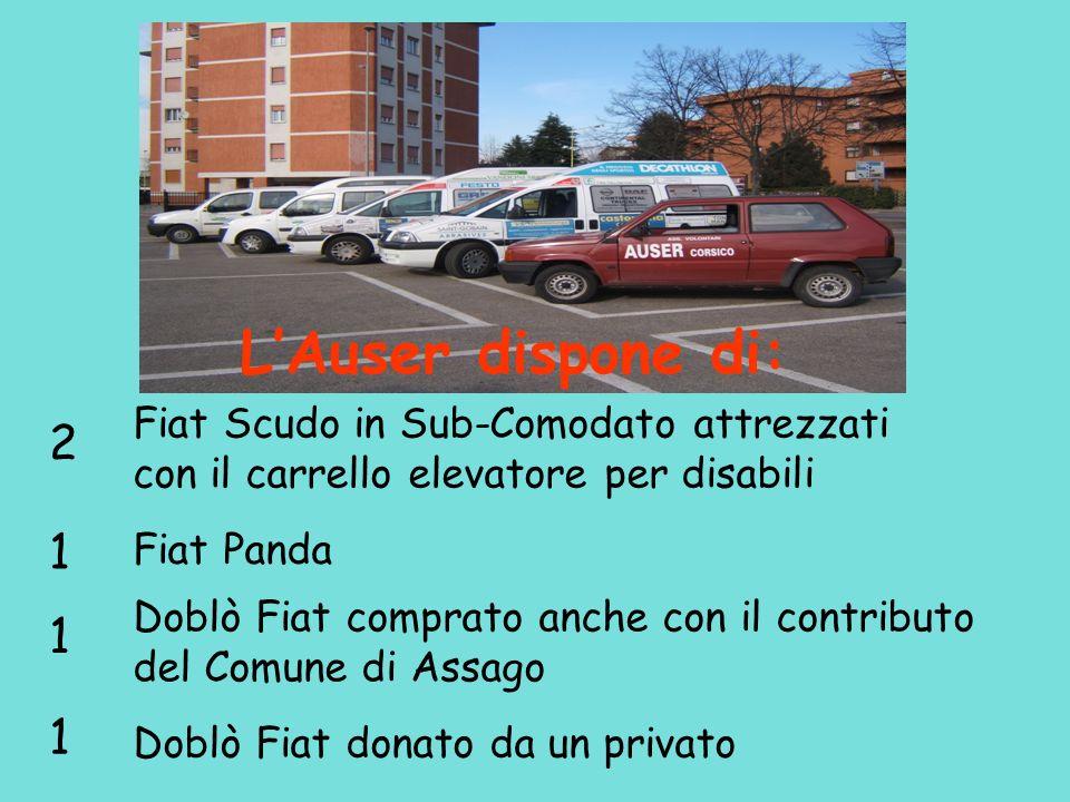 L'Auser dispone di: Fiat Scudo in Sub-Comodato attrezzati con il carrello elevatore per disabili.
