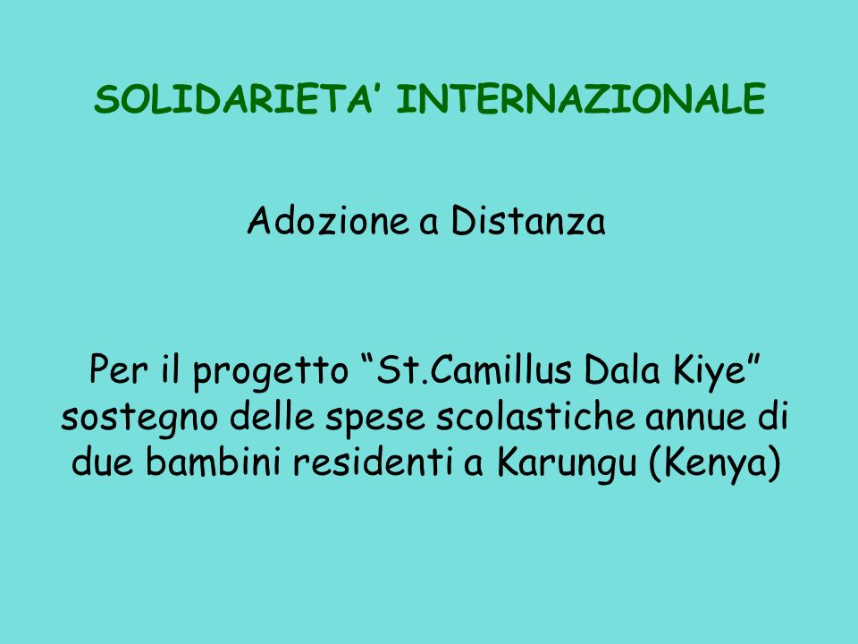 SOLIDARIETA' INTERNAZIONALE
