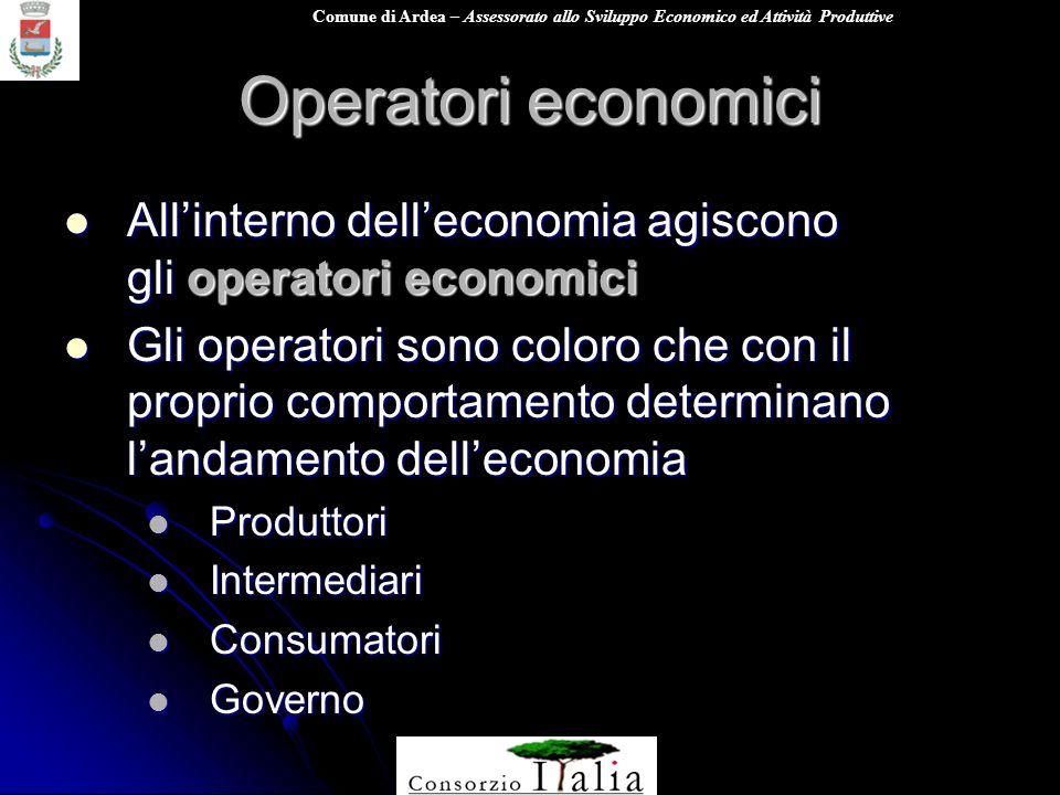 Operatori economici All'interno dell'economia agiscono gli operatori economici.