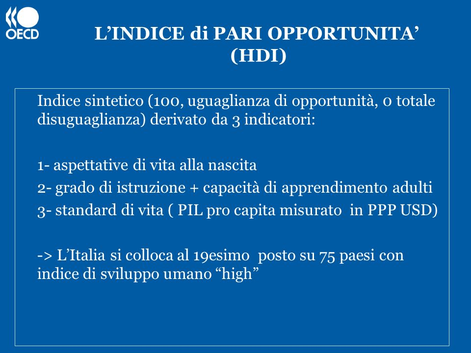 L'INDICE di PARI OPPORTUNITA' (HDI)