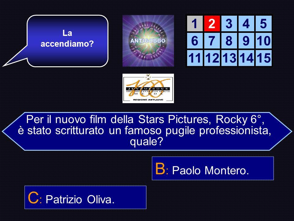 B: Paolo Montero. C: Patrizio Oliva. 1 2 3 4 5 6 7 8 9 10 11 12 13 14