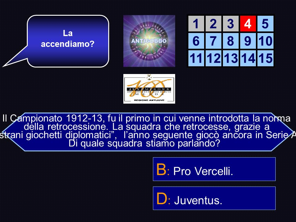 B: Pro Vercelli. D: Juventus. 1 2 3 4 5 6 7 8 9 10 11 12 13 14 15