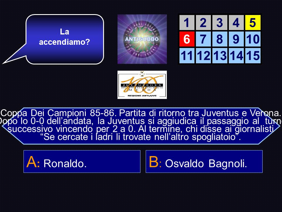 A: Ronaldo. B: Osvaldo Bagnoli. 1 2 3 4 5 6 7 8 9 10 11 12 13 14 15