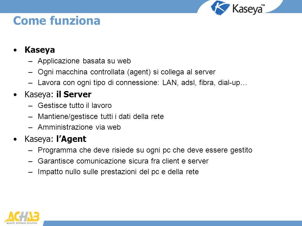 Come funziona Kaseya Kaseya: il Server Kaseya: l'Agent