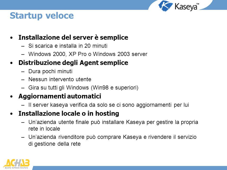 Startup veloce Installazione del server è semplice