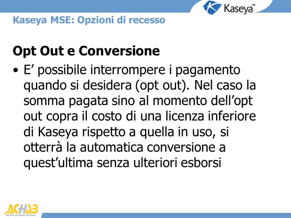 Kaseya MSE: Opzioni di recesso