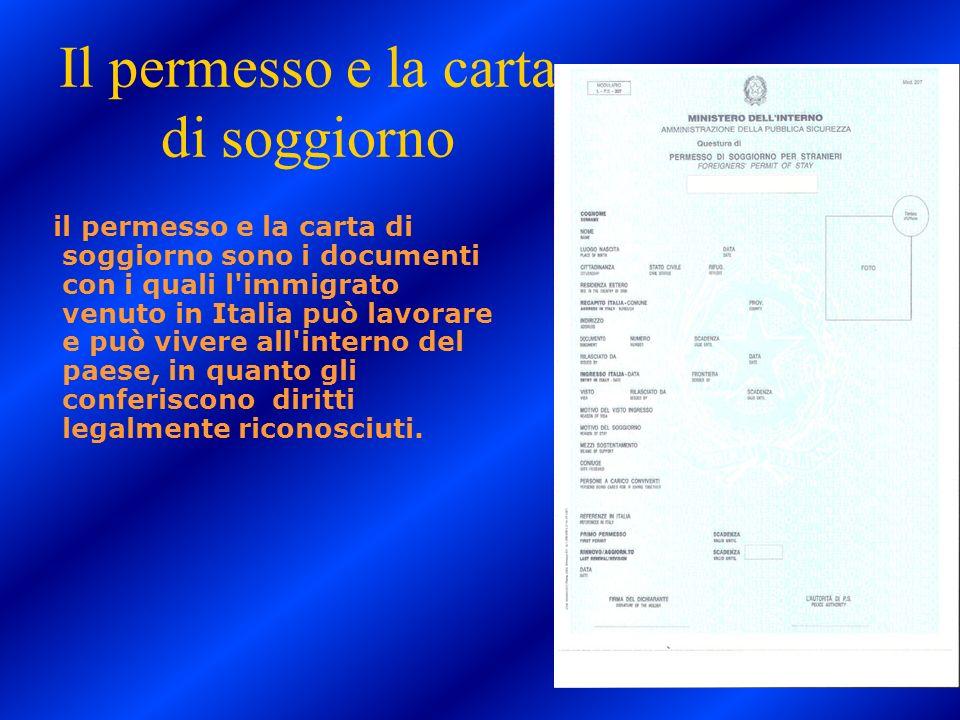 L 39 immigrazione anno scolastico 2009 2010 di hayate el for Documenti per richiesta carta di soggiorno