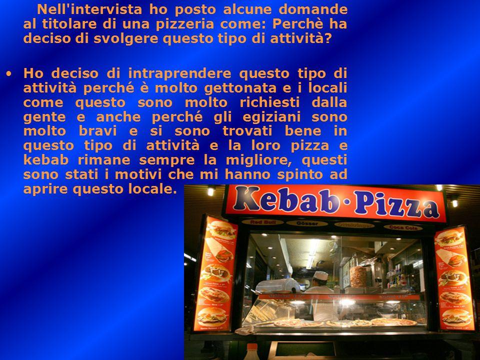 Nell intervista ho posto alcune domande al titolare di una pizzeria come: Perchè ha deciso di svolgere questo tipo di attività