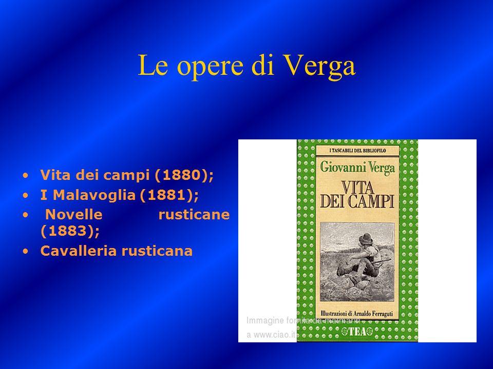 Le opere di Verga Vita dei campi (1880); I Malavoglia (1881);