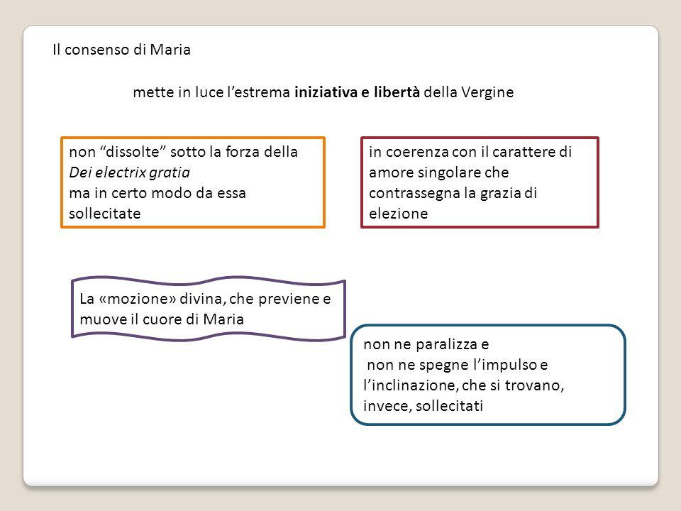 Il consenso di Maria mette in luce l'estrema iniziativa e libertà della Vergine. non dissolte sotto la forza della Dei electrix gratia.