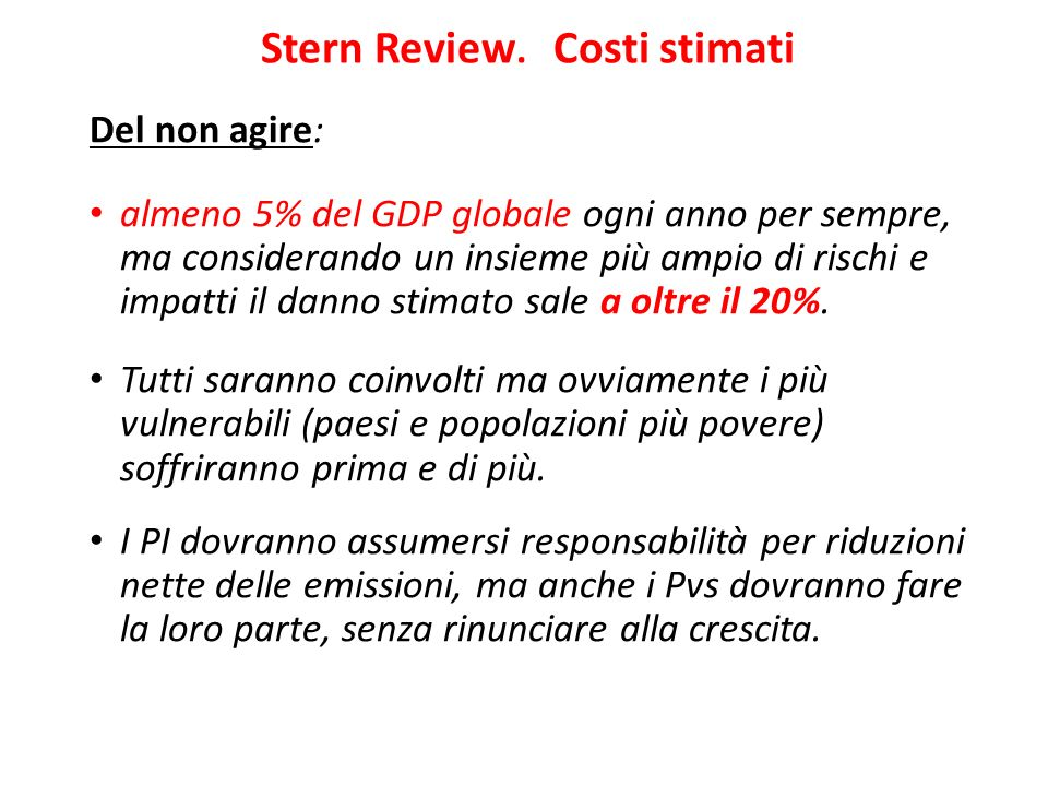 Stern Review. Costi stimati