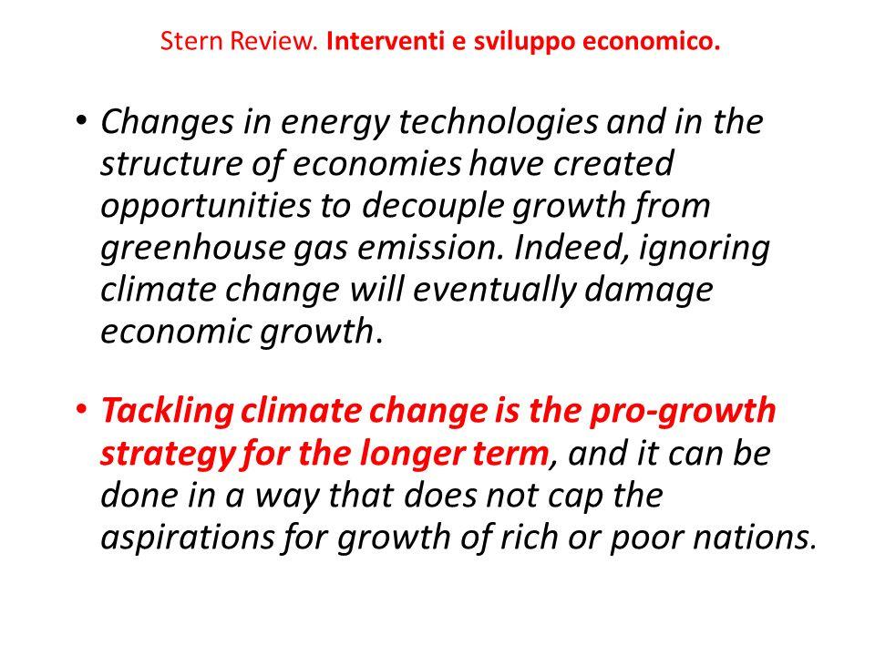 Stern Review. Interventi e sviluppo economico.