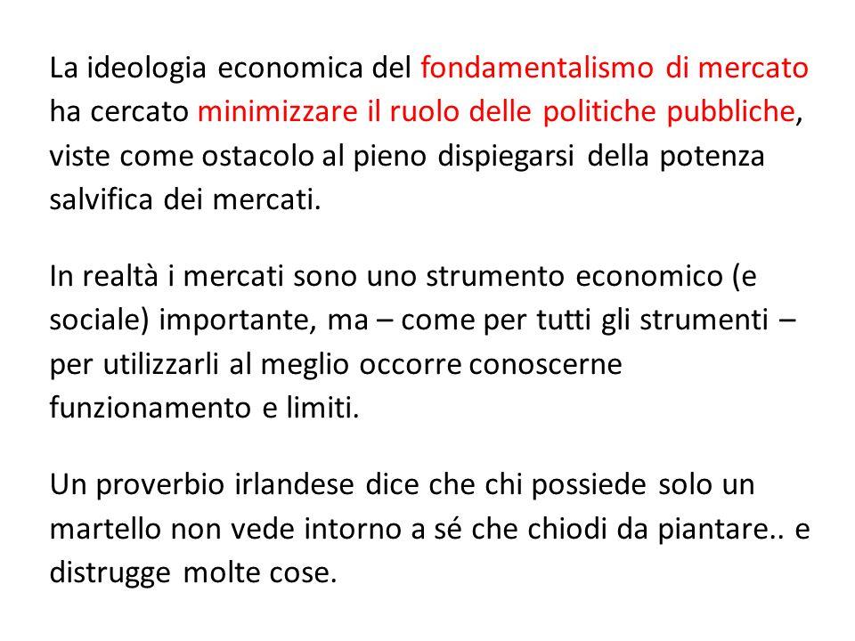 La ideologia economica del fondamentalismo di mercato ha cercato minimizzare il ruolo delle politiche pubbliche, viste come ostacolo al pieno dispiegarsi della potenza salvifica dei mercati.