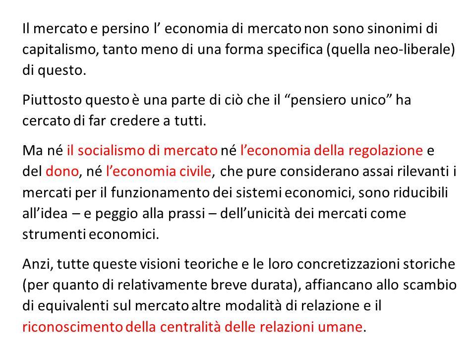 Il mercato e persino l' economia di mercato non sono sinonimi di capitalismo, tanto meno di una forma specifica (quella neo-liberale) di questo.