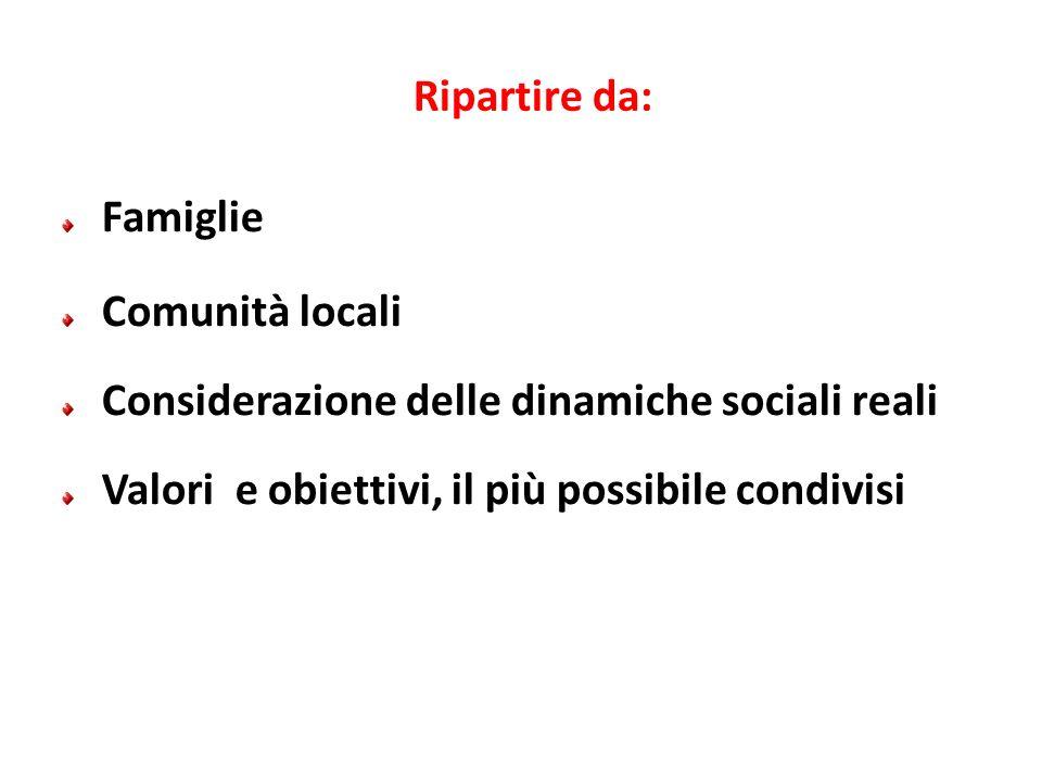 Ripartire da: Famiglie. Comunità locali. Considerazione delle dinamiche sociali reali.