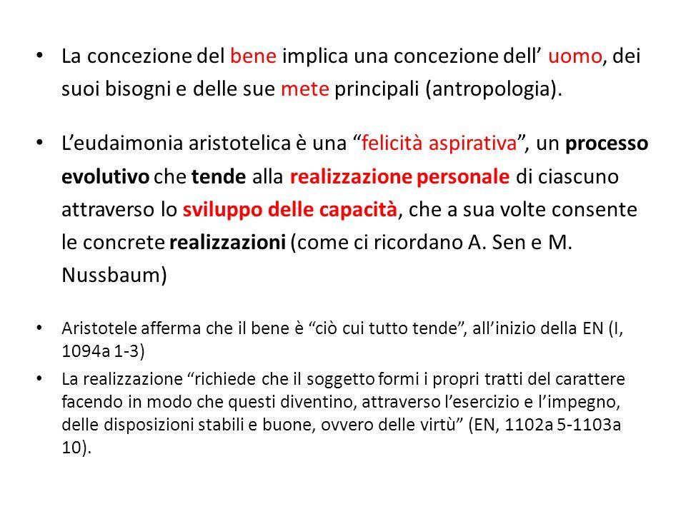 La concezione del bene implica una concezione dell' uomo, dei suoi bisogni e delle sue mete principali (antropologia).