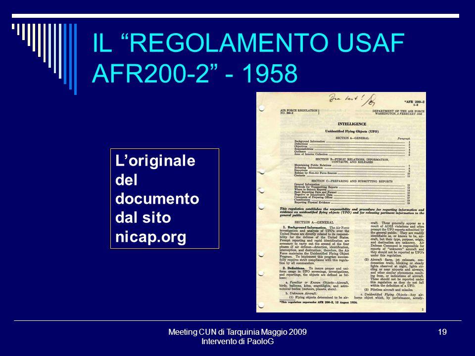 IL REGOLAMENTO USAF AFR200-2 - 1958