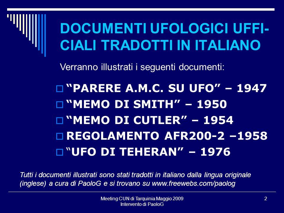 DOCUMENTI UFOLOGICI UFFI-CIALI TRADOTTI IN ITALIANO