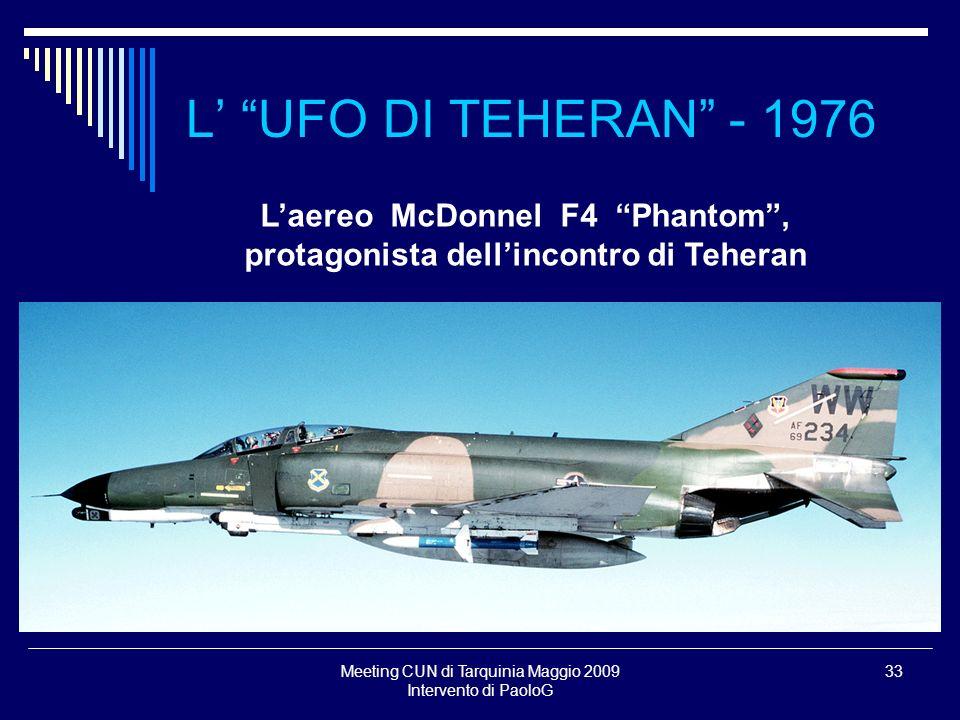 L'aereo McDonnel F4 Phantom , protagonista dell'incontro di Teheran