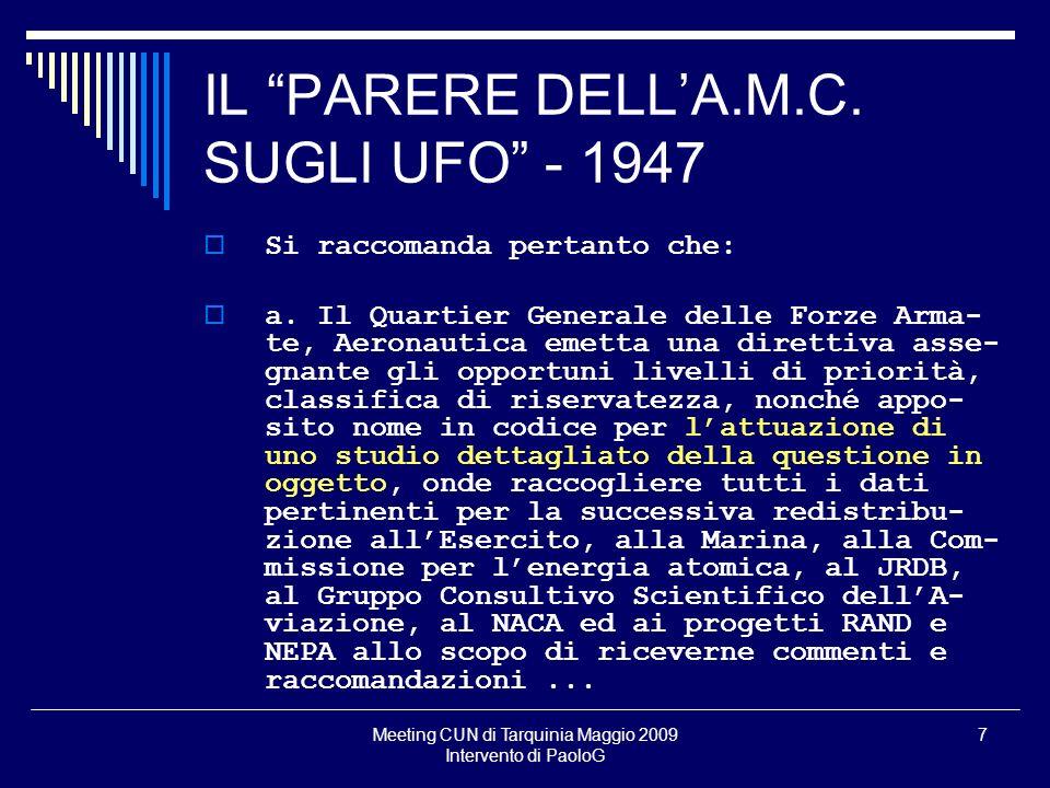IL PARERE DELL'A.M.C. SUGLI UFO - 1947
