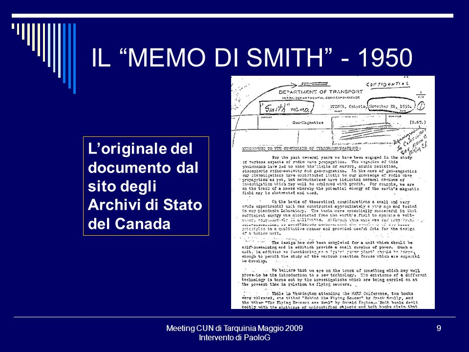 Meeting CUN di Tarquinia Maggio 2009 Intervento di PaoloG