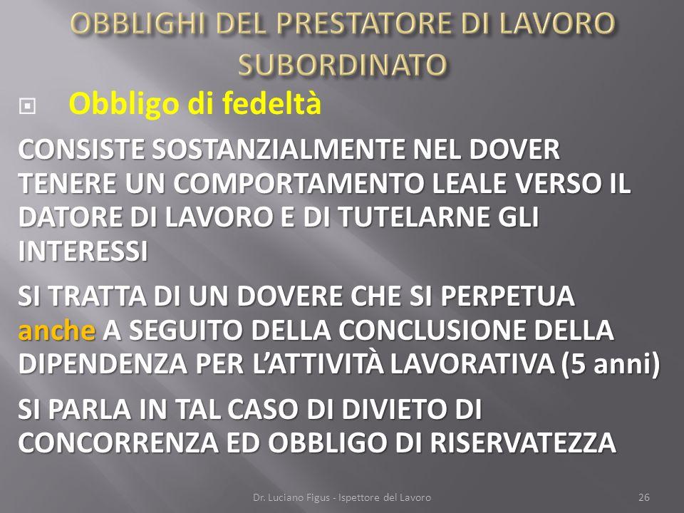 OBBLIGHI DEL PRESTATORE DI LAVORO SUBORDINATO