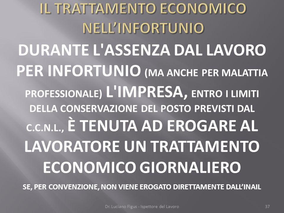 IL TRATTAMENTO ECONOMICO NELL'INFORTUNIO