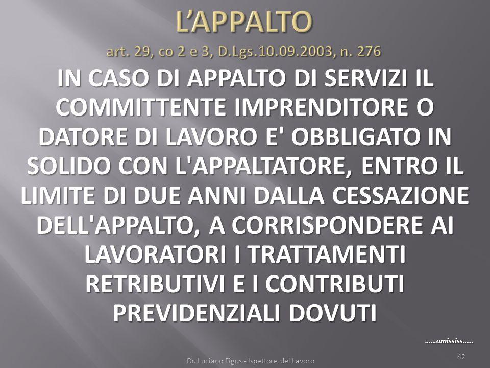 L'APPALTO art. 29, co 2 e 3, D.Lgs.10.09.2003, n. 276