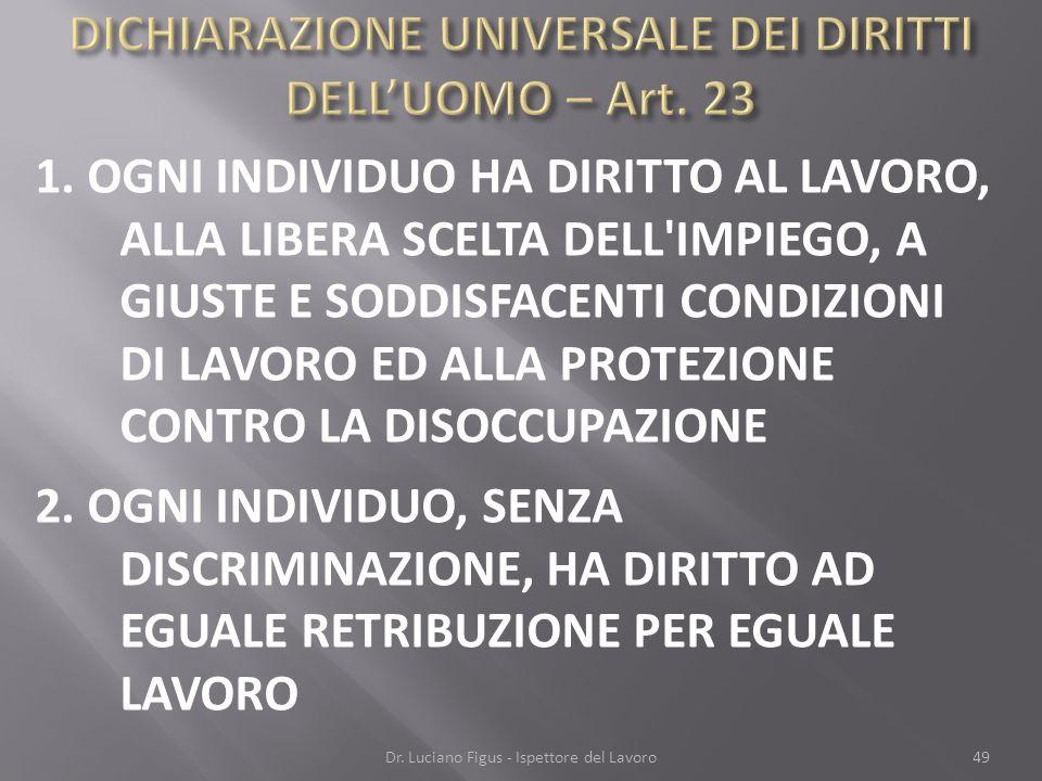 DICHIARAZIONE UNIVERSALE DEI DIRITTI DELL'UOMO – Art. 23
