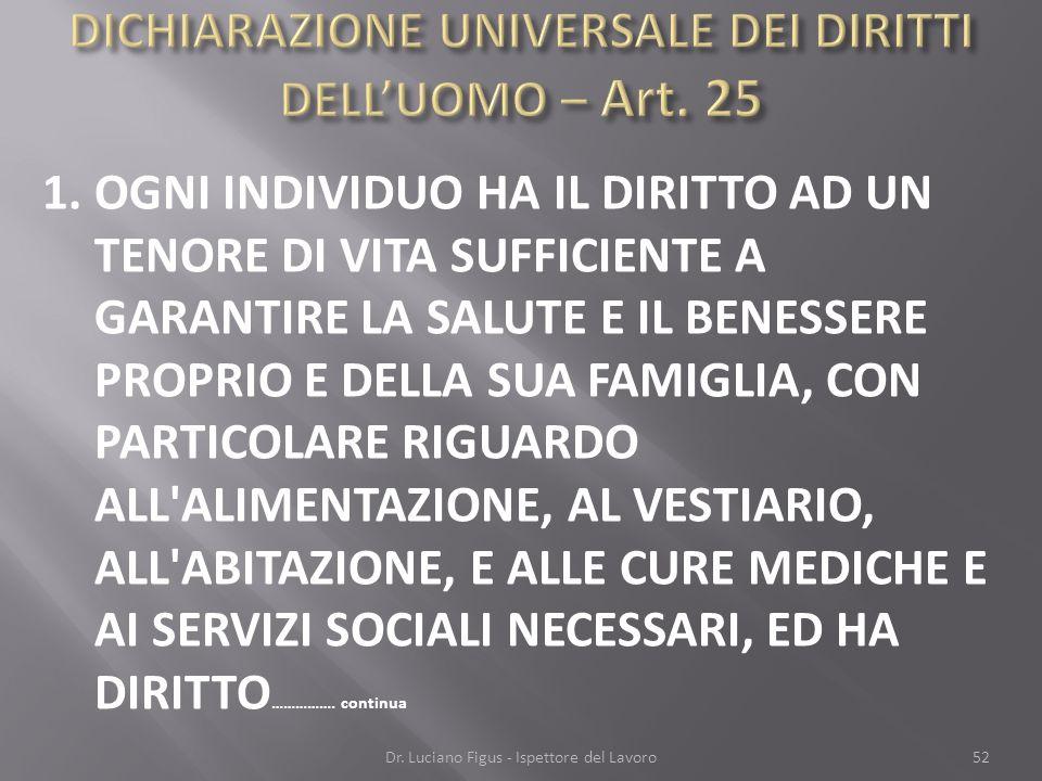 DICHIARAZIONE UNIVERSALE DEI DIRITTI DELL'UOMO – Art. 25