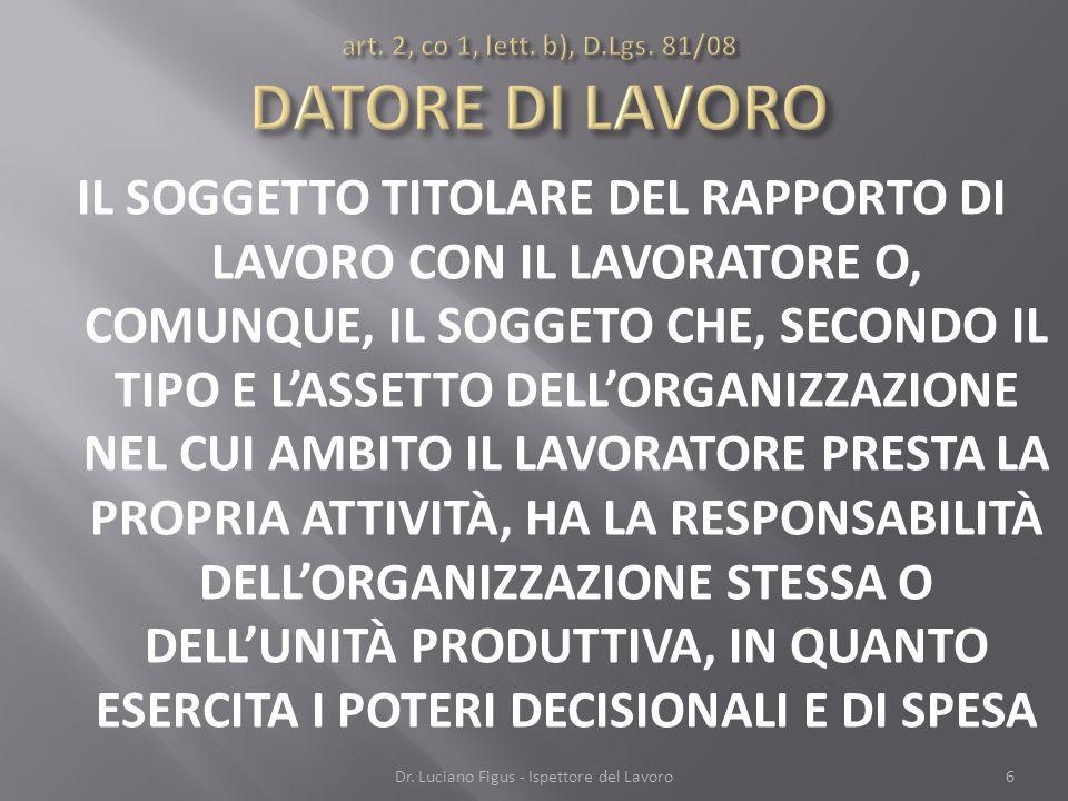 art. 2, co 1, lett. b), D.Lgs. 81/08 DATORE DI LAVORO