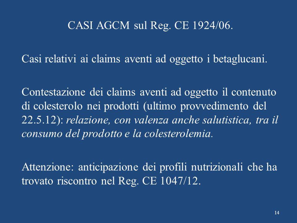 CASI AGCM sul Reg. CE 1924/06. Casi relativi ai claims aventi ad oggetto i betaglucani.