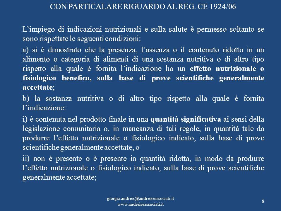 CON PARTICALARE RIGUARDO AL REG. CE 1924/06