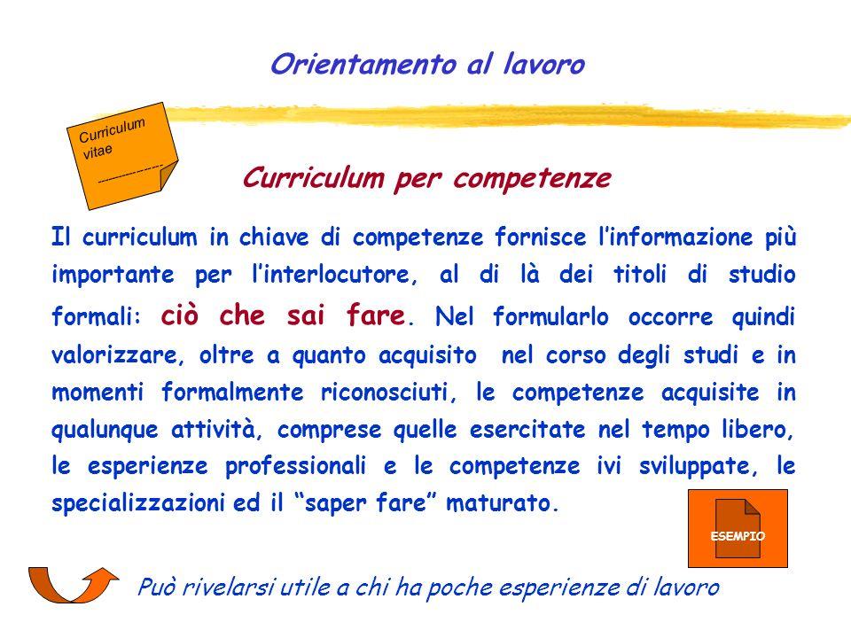 Curriculum per competenze