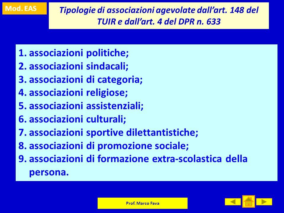 associazioni politiche; associazioni sindacali;
