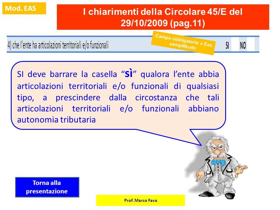I chiarimenti della Circolare 45/E del 29/10/2009 (pag.11)