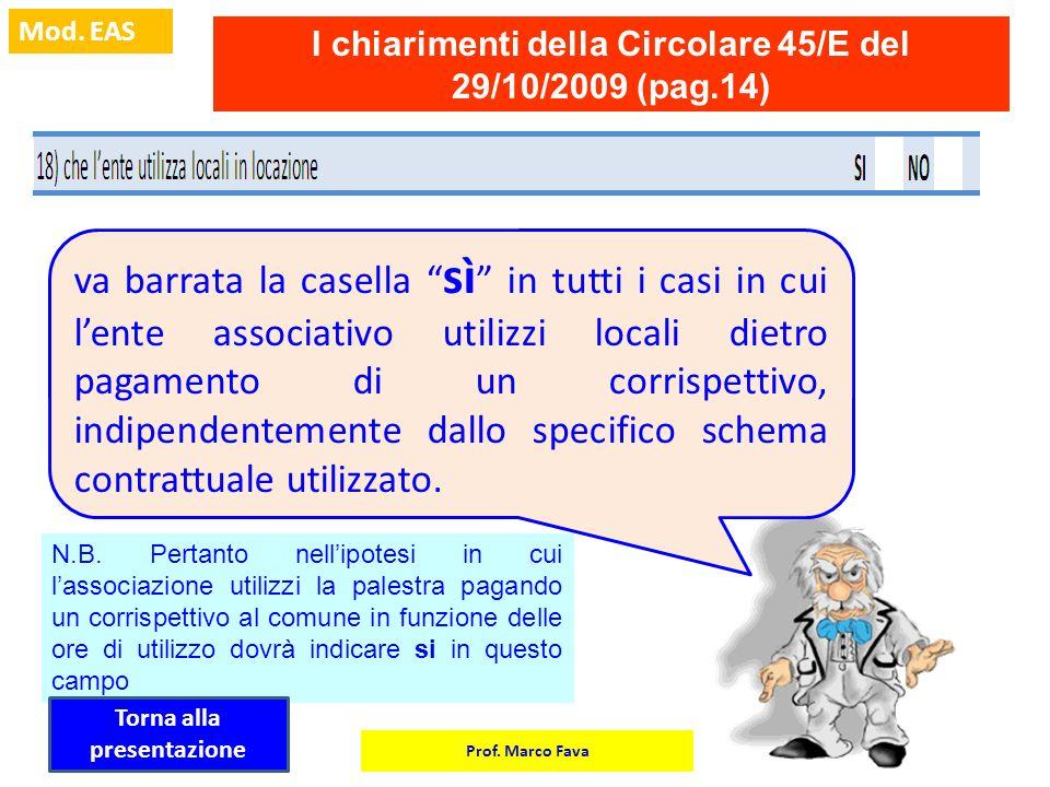 I chiarimenti della Circolare 45/E del 29/10/2009 (pag.14)