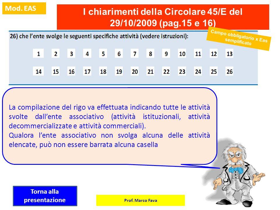 I chiarimenti della Circolare 45/E del 29/10/2009 (pag.15 e 16)