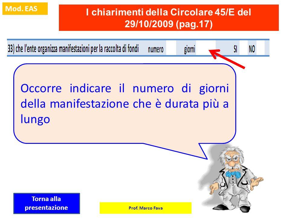 I chiarimenti della Circolare 45/E del 29/10/2009 (pag.17)
