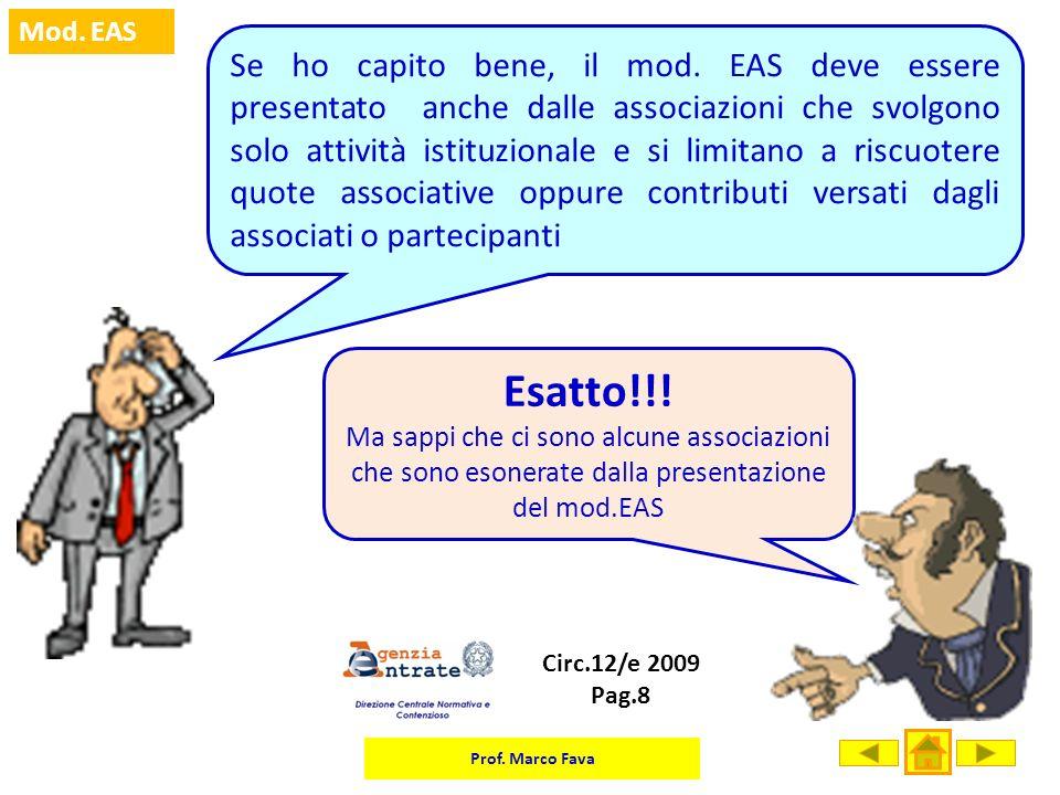 Se ho capito bene, il mod. EAS deve essere presentato anche dalle associazioni che svolgono solo attività istituzionale e si limitano a riscuotere quote associative oppure contributi versati dagli associati o partecipanti