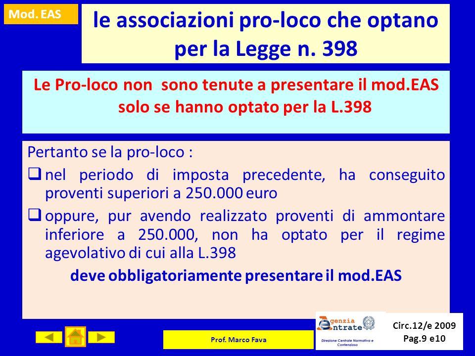 le associazioni pro-loco che optano per la Legge n. 398