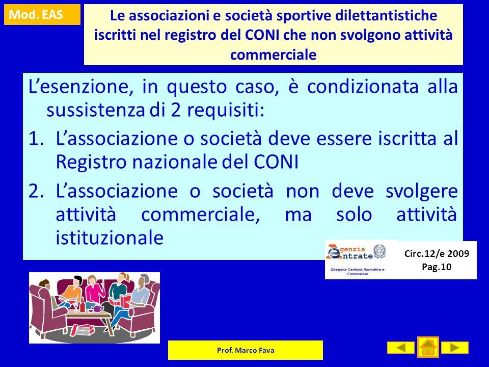 Le associazioni e società sportive dilettantistiche iscritti nel registro del CONI che non svolgono attività commerciale