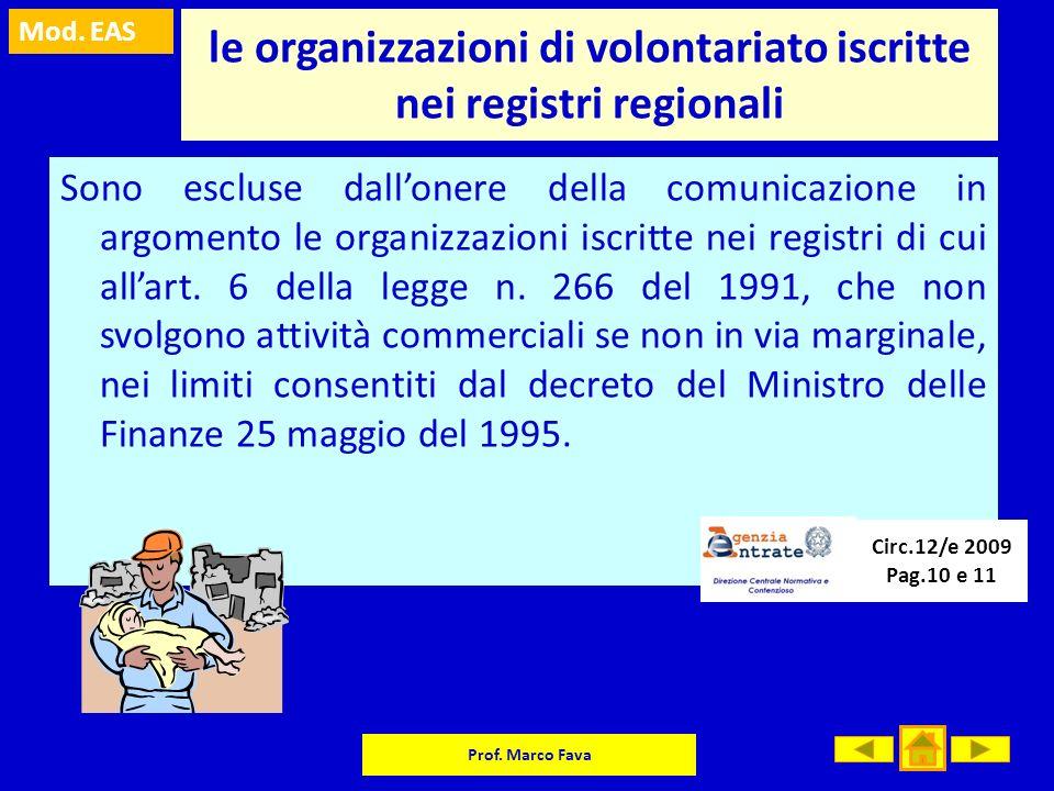 le organizzazioni di volontariato iscritte nei registri regionali