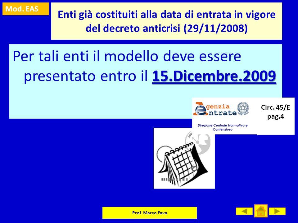 Enti già costituiti alla data di entrata in vigore del decreto anticrisi (29/11/2008)