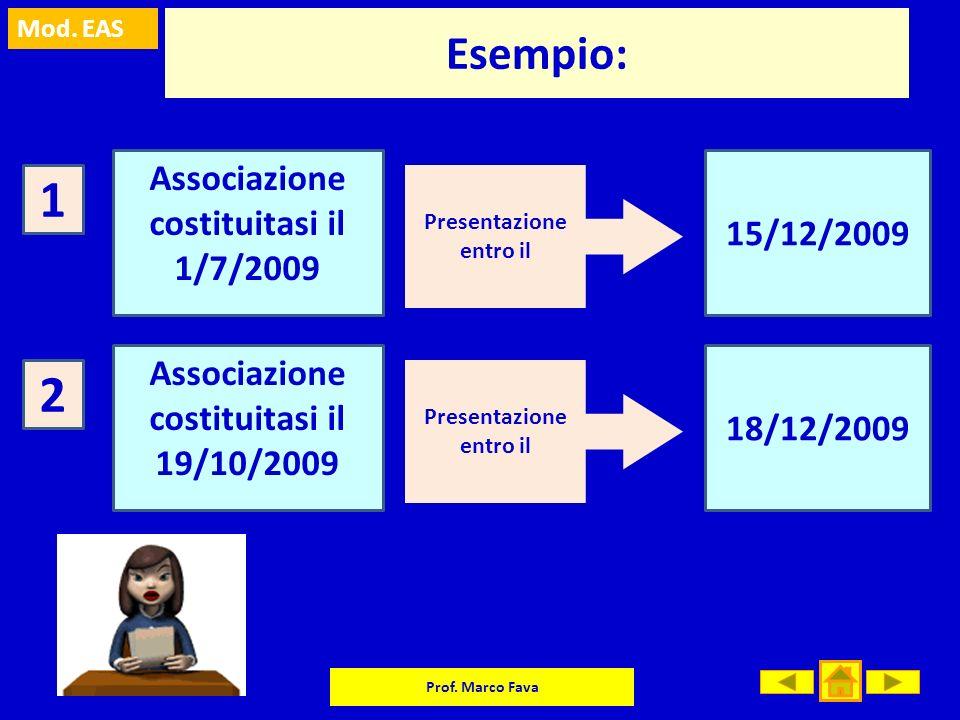 1 2 Esempio: Associazione costituitasi il 1/7/2009 15/12/2009